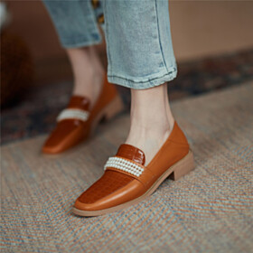 Fashion Loafers Snake Printed With Pearls Comfortable Slip On Square Toe Closed Toe Flats Shoes
