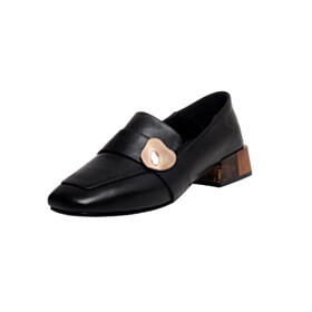 Business Casual Slip On Full Grain Comfort Low Heels Slip On Black Block Heels