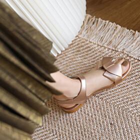 Sandals For Women Peep Toe Flat Shoes Boho Champagne Beach