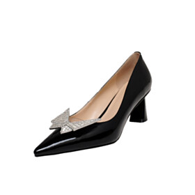 Mid High Heeled Chunky With Rhinestones Closed Toe Pumps Black Leather Pointed Toe With Butterfly Dress Shoes Business Casual Shoes