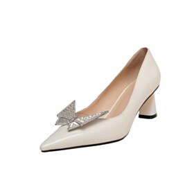 Pumps 6 cm Mid Heels With Butterfly Formal Dress Shoes Pointed Toe White Elegant