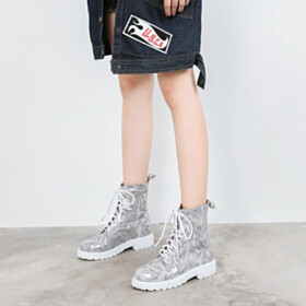 High Tops Leather Martin Gray Ankle Boots Lace Up Flat Shoes