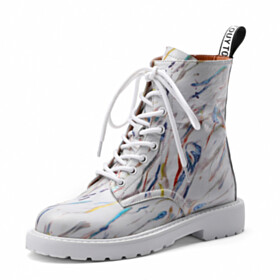 Booties Multicolor Round Toe High Tops Fashion Martin Boots Lace Up