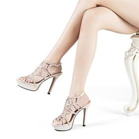 Stilettos Evening Party Shoes Designer Sparkly Champagne Platform Heel Strappy 12 cm High Heel Stylish Sandals Gladiator
