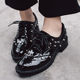 Black Comfort Natural Leather Low Heel Studded Oxford Shoes Flat Shoes Patent Leather