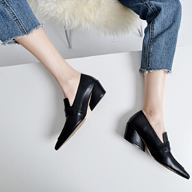 Loafers Mid Heel Thick Heel Leather Business Casual Shoes