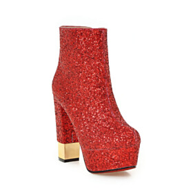 Sparkly Red Soles Platform 13 cm High Heel Fur Lined Sequin Booties Chunky Block Heels Classic Party Shoes Closed Toe