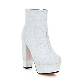Glitter Red Bottoms Going Out Shoes Booties Fur Lined Block Heels 5 inch High Heel Round Toe White Platform