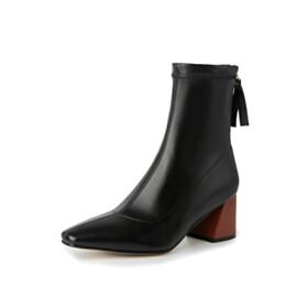 Ankle Boots Block Heels 6 cm Mid Heel Faux Leather Comfort Sock