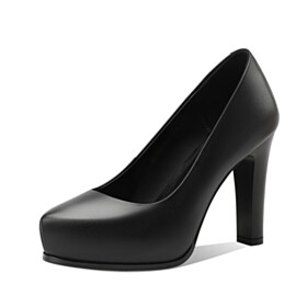 4 inch High Heel Red Sole Office Shoes Pumps Black Leather