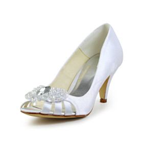 Satin Beautiful Dress Shoes Open Toe White Spring Pumps 6 cm Mid Heels Stiletto Slip On Bridals Wedding Shoes