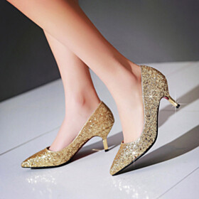 Glitter Red Sole Stiletto Pointed Toe 7 cm Heel Pumps Sparkly