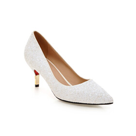 White Sequin Party Shoes Pumps Pointed Toe Red Soles 7 cm Heel