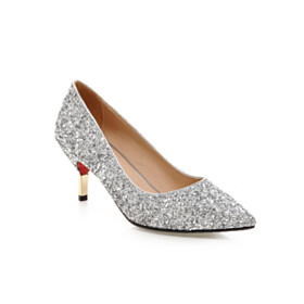 7 cm Heel Stiletto Red Bottom Pointed Toe Party Shoes Glitter Sparkly