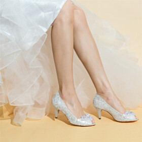 Pumps Stilettos Peep Toe Slip On 7 cm Heeled With Rhinestones Bridals Wedding Shoes