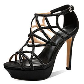 Elegant Sparkly Black Sandals Designer 12 cm High Heel Gladiator Thick Heel Platform Dress Shoes Open Toe