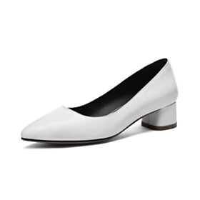 Low Heels Pointed Toe Classic Beautiful Formal Dress Shoes Leather Chunky Hee Closed Toe Office Shoes White Block Heels