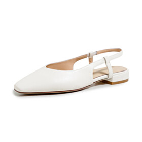 Square Toe 3 cm Low Heel Shoes Closed Toe Chunky Hee Pumps Slingback Comfortable Patent Leather White