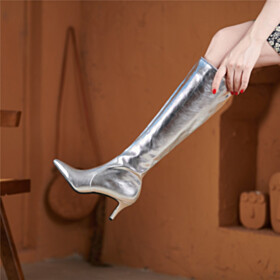 Tall Boots Riding Boots Closed Toe Knee High Boot Leather Patent Sparkly Metallic 6 cm Heel Silver