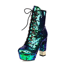 Modern 5 inch High Heel Evening Shoes Block Heel Ankle Boots Chunky Heel Glitter
