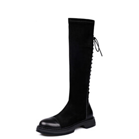 Vintage Tall Boots Round Toe Fall Flat Shoes Stretchy Riding Boots Knee High Boots