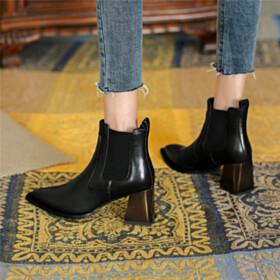Classic Block Heel Chelsea Stilettos Fur Lined Flat Shoes Black Booties Womens Shoes