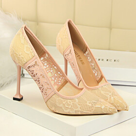 Womens Sandals Summer Sexy 10 cm High Heel Lace Pointed Toe Going Out Shoes Flower