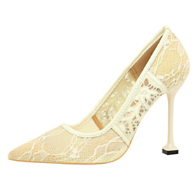 Pointed Toe Stilettos Pumps White 4 inch High Heel Flower Sexy Party Shoes Going Out Shoes Sandals
