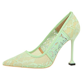 Sexy Pumps Lace Mint Green 10 cm High Heel Flowers Party Shoes Closed Toe Sandals