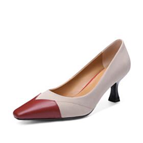 Elegant Suede Pointed Toe Pumps Stylish Mid Heels Leather Stilettos