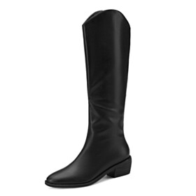Chunky Low Heels Natural Leather Knee High Boot Black Vintage Classic Winter Riding