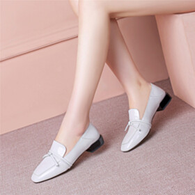 Leather Loafers Classic Bow Flat Shoes Comfortable Shoes