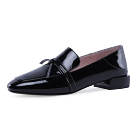 Loafers Classic Closed Toe Flat Shoes Black Comfort With Bowknot