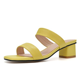 Slipper Leather Block Heel Sandals Open Toe Strappy Beach Fashion Low Heeled Yellow