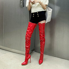 2021 Studded Tall Boots Red Thigh High Boot High Heel Fashion Pointed Toe