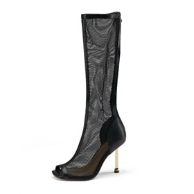 Stilettos Knee High Boots Sandals Black Cut Out Tall Boots Sexy Tulle 10 cm High Heels