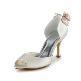 High Heel Slip On Bowknot Pumps Wedding Shoes For Women Beautiful