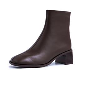 Chunky Heel Fur Lined Low Heel Round Toe Classic Closed Toe Booties