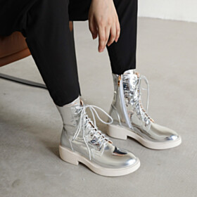 Flats Lacing Up High Tops Sparkly Fashion Silver