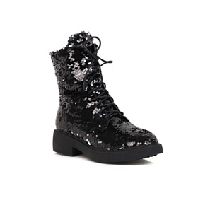 Sparkly Lace Up Black Round Toe Ombre Winter Sequin Flat Shoes