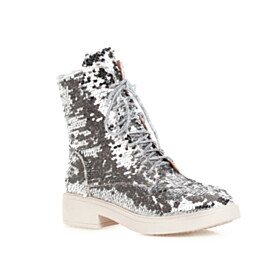 High Top Going Out Shoes Round Toe Flat Shoes Ombre Fur Lined 2020 Glitter Silver
