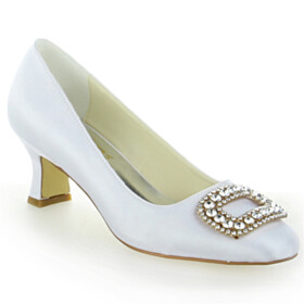 Elegant 2 inch Low Heel Closed Toe Pumps Wedding Shoes For Bridal White Satin