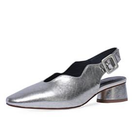 Silver Fashion Low Heels