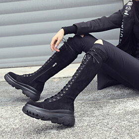 Classic Black Tall Boot Knee High Boot Leather Suede Closed Toe Mid Heels Stretchy