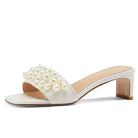 With Pearls Cute Slipper Bohemian White Thick Heel Sandals Low Heels