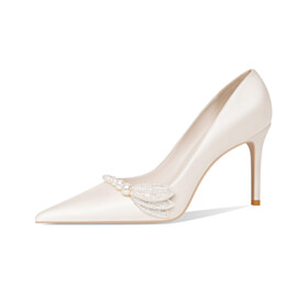 8 cm High Heels With Pearl White Pumps Bridal Shoes Elegant Stiletto Heels