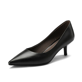 Comfortable 2 inch Low Heel Pumps Leather Business Casual Shoes