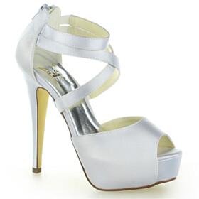Peep Toe Wedding Shoes For Women 5 inch High Heel Stiletto Ankle Strap Summer Satin Platform Heel