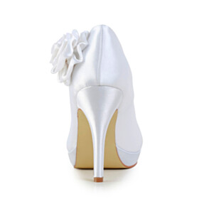 Slip On Pointed Toe White Beautiful Pumps 10 cm High Heels Wedding Shoes