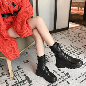 Ankle Boots Black Classic Fur Lined Leather Flat Shoes Lacing Up